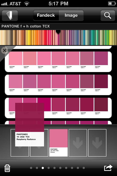 Tap and build a color story from Pantone's fan deck.