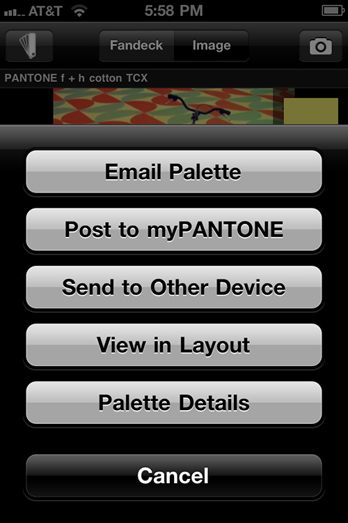 Email or share using myPANTONE's options.