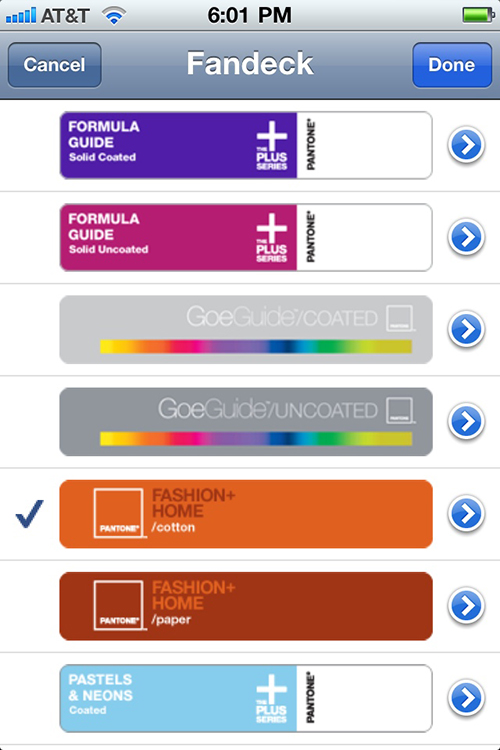 Choose a Pantone color library.