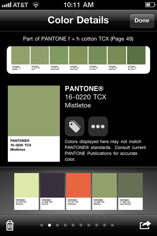 Tap on a color swatch and myPANTONE will display the details.