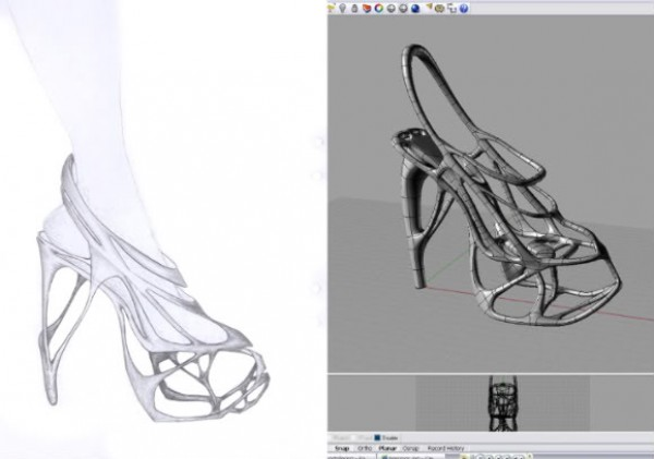Designer Naim Josefi concept sketch for the Melonia shoe and its 3D visualization