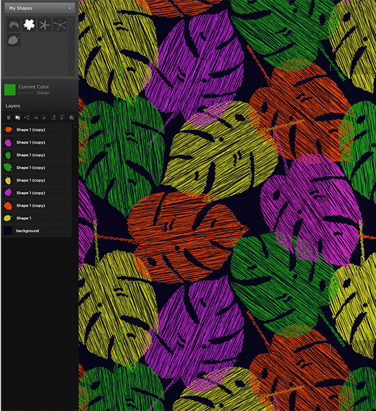 Re-coloring is very intuitive. Click on the shape from Layers or the motif itself on the canvas. Select the Current Color to activate the Color Picker and just mix a new hue.