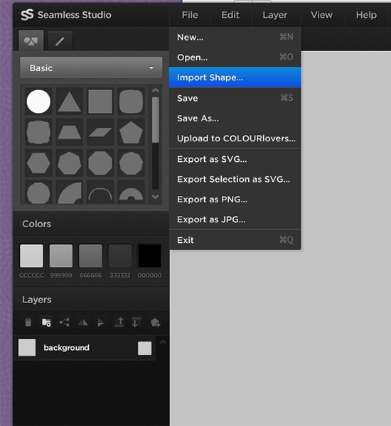 Also from the File pull-down menu, you can select Import Shape but only SVG.