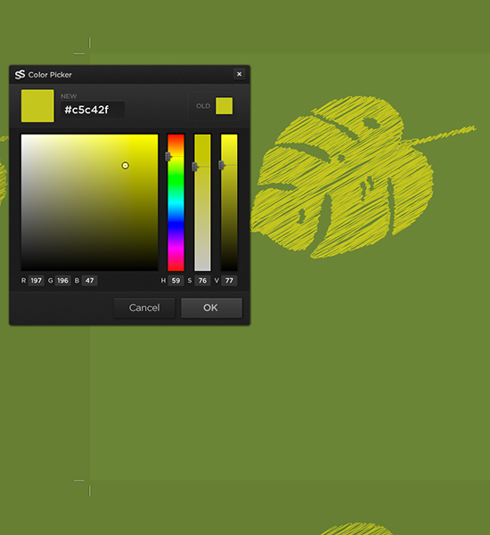 Drag and drop your shape onto the canvas. Click the Current Color swatch above Layers and the you can mix a color from the Color Picker.