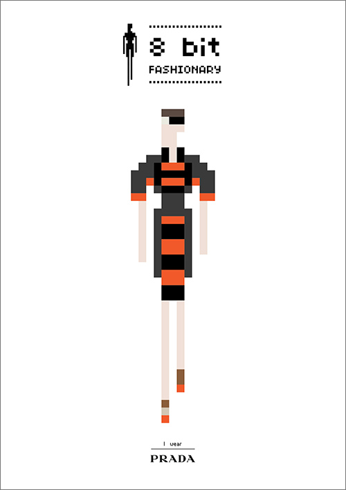 Fashionary by Penter Yip, a figure and flat template notebook series sketches his fav fashion looks in 8 bit computer generated style.