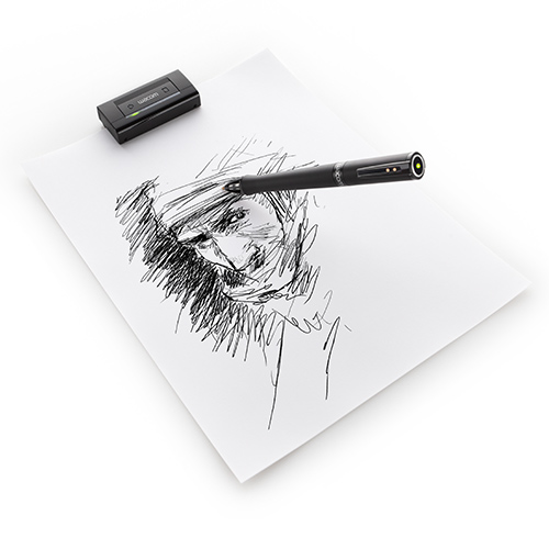 A pen with a portable sensor capturing the artists stroke.